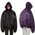 KOM marca veste-coreano roupas de alta moda roupas masculinas Roxo/Preto de grandes dimensões inverno casaco moletom com capuz acolchoado dos homens bombardeiro jaqueta