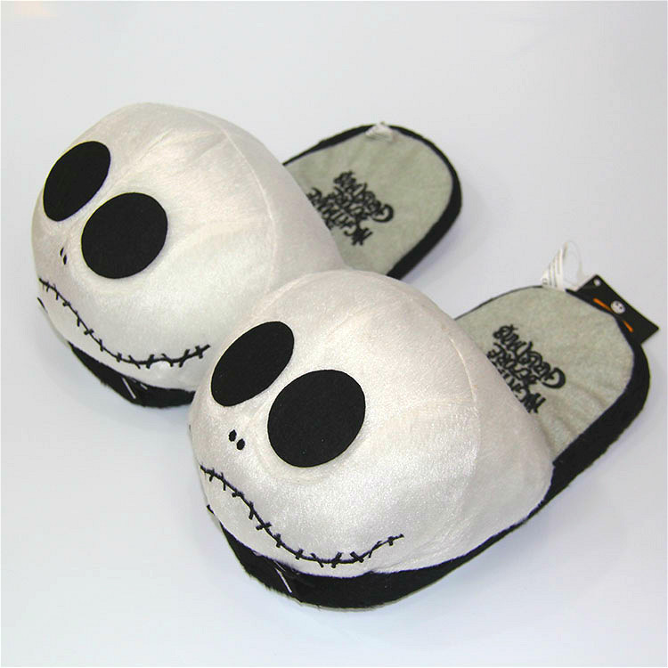 28cm Anime Nightmare Before Christmas Jack Skellington Plush Slippers Shoes Warm Winter Adult Slipper Great Gift free shipping elsi el026awldu44