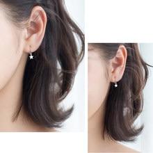 88da1d8bbd41 Exquisito 1 PC 925 de plata esterlina estrella aro pendientes para las  mujeres chica Simple oído Piercing aro pendientes de aros.