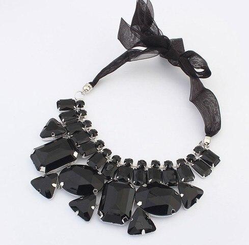 2015 Fashion sautoir Candy color ribbon irregular stone chain Hot Sales Fashion Vintage Flowers Studded Rhinestone Necklace