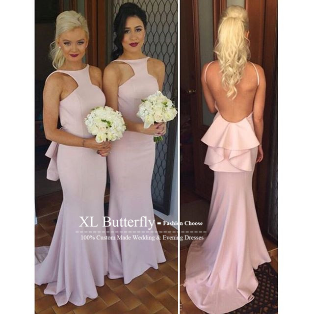 Sparkly Blush Pink Bridesmaid Dresses 2016 Halter Neck Y Long Maid Of Honor Women Party Gowns Vestido De Festa In From