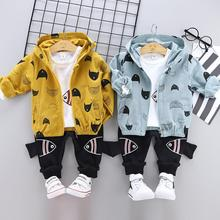 Spring and Autumn Childrens Wear Set Boys Baby Long Sleeve Cartoon fish hooded jacket+White T shirt+ Pants Three Piece Set