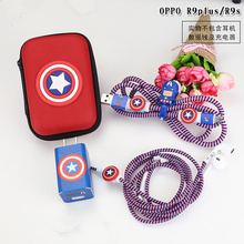 Cartoon USB Cable Earphone Protector Set With Box Winder Stickers Spiral Cord For OPPO R9s/R9plus