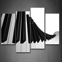Framed Wall Art Pictures Keyboard Piano Canvas Print Music Modern Posters With Wooden Frames For Home Living Room Decor