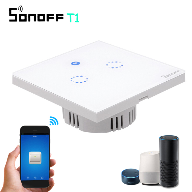 Sonoff T1 EU UK Smart RF 433/APP /Touch Control Wall Wireless Light Switch 1/2/3 Gang 86 Type Wall Touch WiFi Switch Smart Home