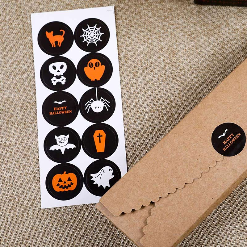 [4Y4A] 5set DIY envelopes notebook stickers Halloween Packaging Seal Paste Dessert Box Decorative Sticker