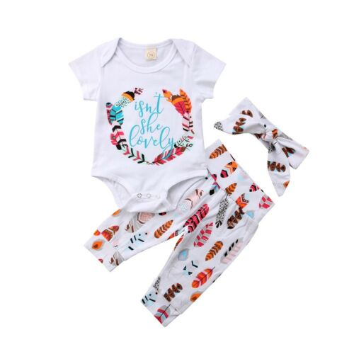 UK 4pcs Toddler Kids Baby Girl Floral Clothes T-Shirt Tops+Long Pants Outfit Set