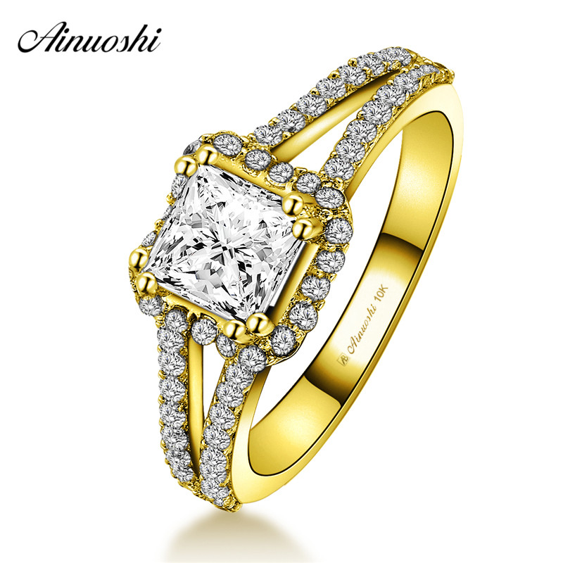AINUOSHI 10k Solid Yellow Gold Woman Wedding Square Ring 1ct Princess Cut Sparkling Halo Ring Double Rows CZ Engagement Jewelry