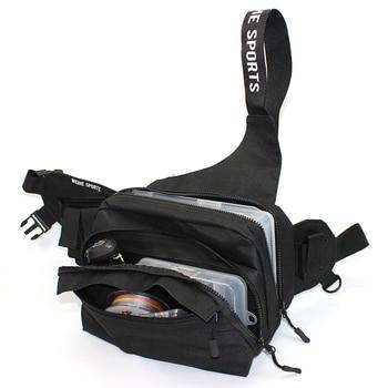 Bolsa de pesca multifuncional, señuelo de pesca de cintura, bolsa, mochila, bandolera con correa, línea de carrete de mosca, telas impermeables con bolsillos