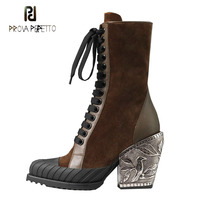 Prova Perfetto 2019 new metal carved flower chunky heel ankle boots women round toe suede real leather patchwork knight boots