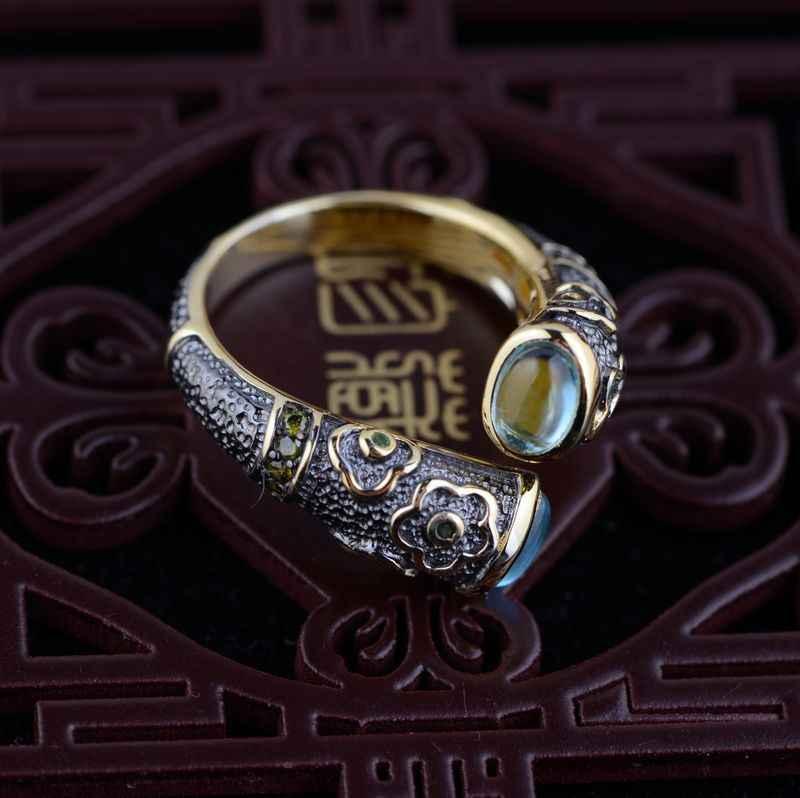 Hakiki Topaz Kakma 925 Saf Gümüş Yüzük Kadınlar için Kız El Yapımı Emaye Emaye Işi hediye yüzük Tay Gümüş Takı Aksesuarları