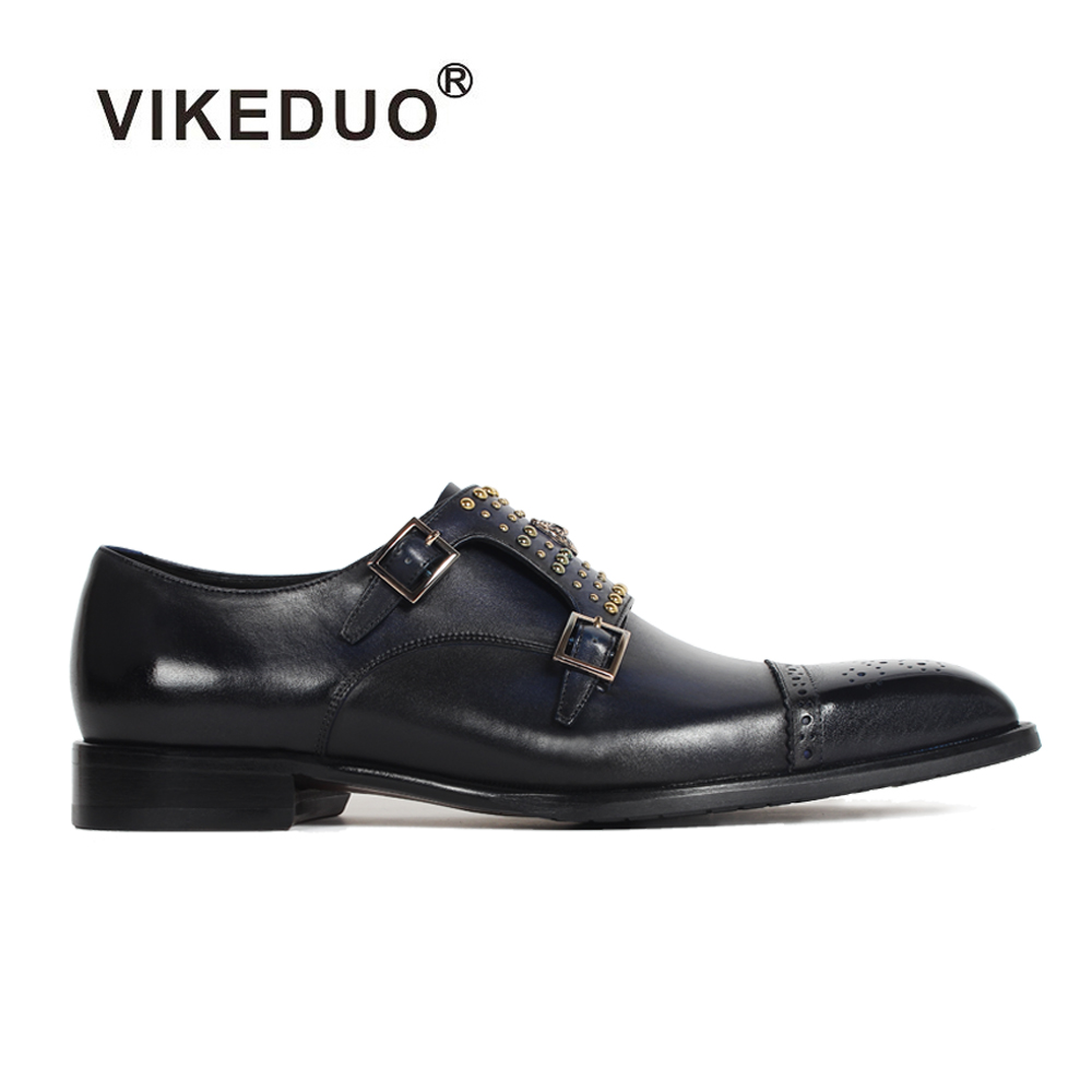 2018 Vikeduo Hot Handmade Luxury Classic Genuine Leather Shoes Wedding Party Dress Custom Made Original Design Men's Monk Shoes 2017 vintage retro custom men flat hot sale real mens oxford shoes dress wedding party genuine leather shoes original design