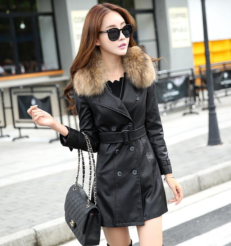 Real Raccoon Fur Leather Coat Women Leather Jacket  Long Slim Ladies Jackets Coats Outerwear Women's Leather Clothing Black 1