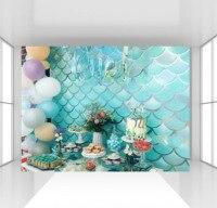 HUAYI Mermaid birthday Backdrop Custom under sea turquoise blue fish Scales photophone Background Baby Shower cake table decor