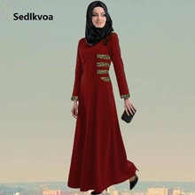 Sedlkova Abaya/2017 Muslim Women Black Leopard Dubai Kaftan Abaya Maxi Dress/Islamic Turkey Women Vestido Robe Long Sleeve Dress