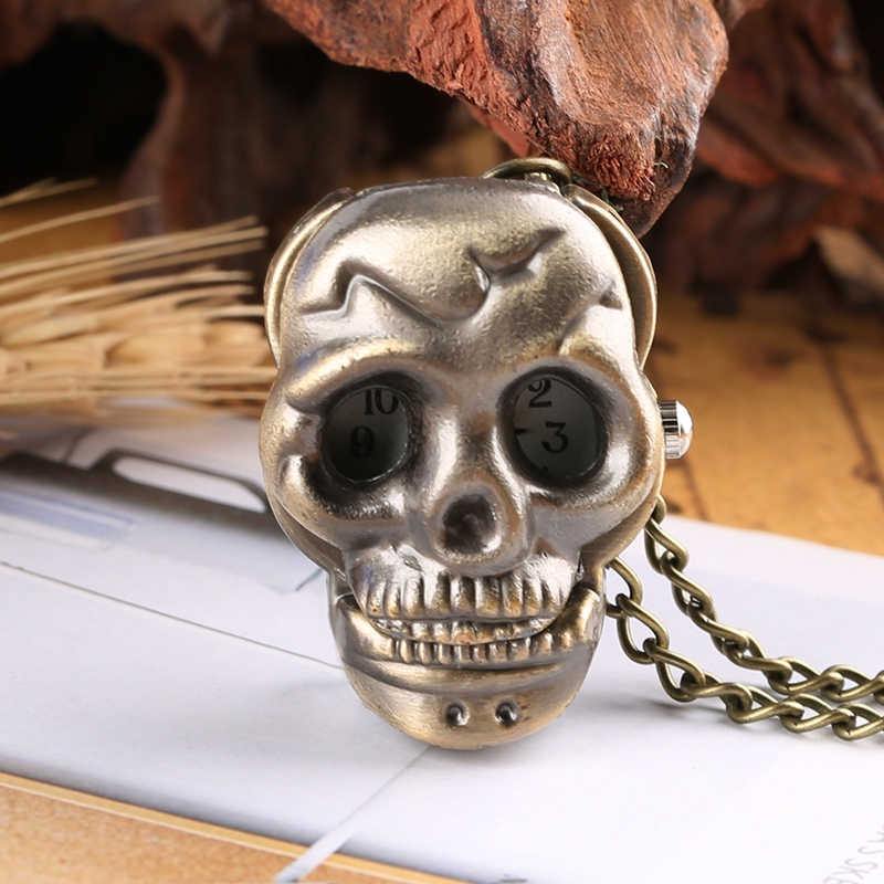 Little Cute Skull Quartz Pocket Watch Retro Steampunk Ghost Necklace Pendant Clock Chain Gifts For Men Women Kid As Collectibles