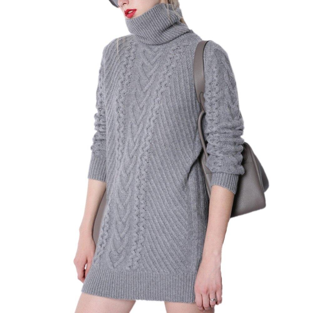 Осень зима кашемировый свитер женский длинный участок Высокий воротник свободный стиль 100% чистый кашемир одежда свитер женский длинный вя...