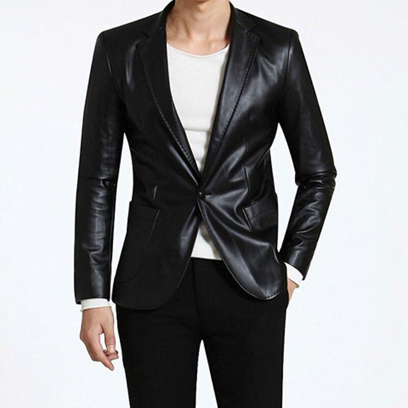 2015 nuevos Mens Blazer chaqueta De cuero De la Pu Jaqueta