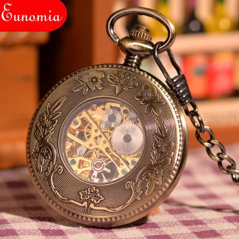 Phoenix New Arrival Thời Trang Bronze Steampunk Cơ Khí Pocket Watch Men Phụ Nữ Vòng Cổ Đồng Hồ Cổ Điển Skeleton Pocket Watch