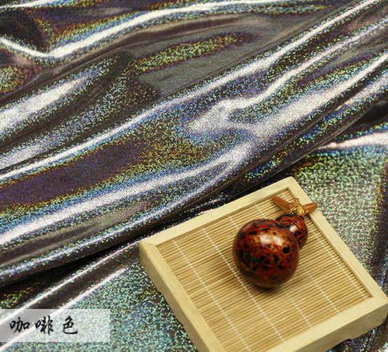 Флуоресцентный Ткань лазерного стрейч вязать красочные блестящие Ткань этап Свадебный декор ткани для Вышивание пайетками Ткань 150 см * 50 см