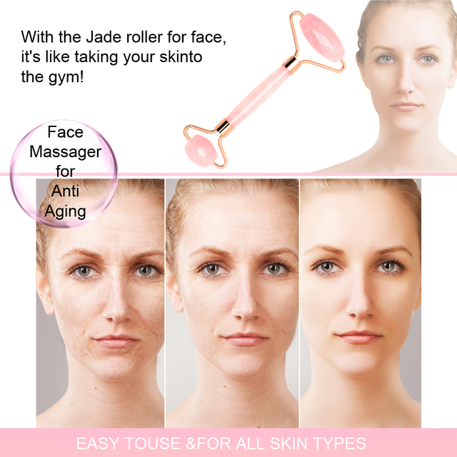 Dropshipping Jade Roller Face Massager Rose Quartz Face Roller Massage Stone Gua Sha Pink Facial Rollers Slimming Lift Skincare 3