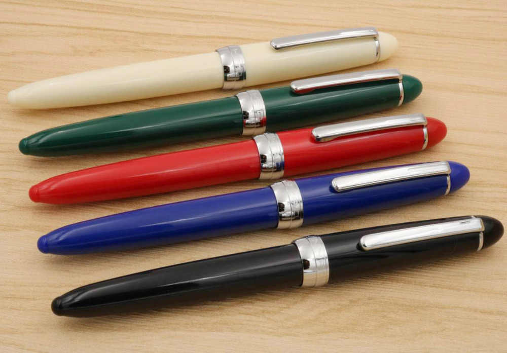 JINHAO NEW 992 color blue plastic Rotating lid Silver student fountain Pen