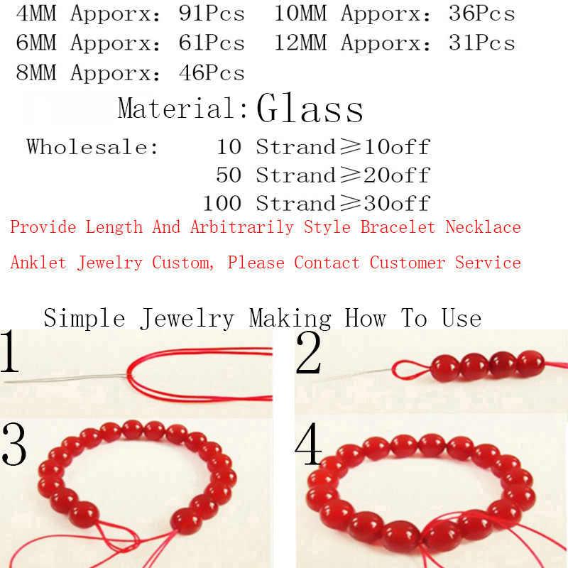 צבעוני חלק קריסטל זכוכית העגול ירוק אדום גרנט נקי זכוכית חרוזים 4 6 8 10 12 MM עבור diy צמיד תכשיטי ביצוע