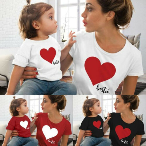 S-2XL Mom & Me T-Shirts Tops Family Matching Outfits Mother And Daughter Heart Printed Shirt T-shirts Family Clothes Top Tees