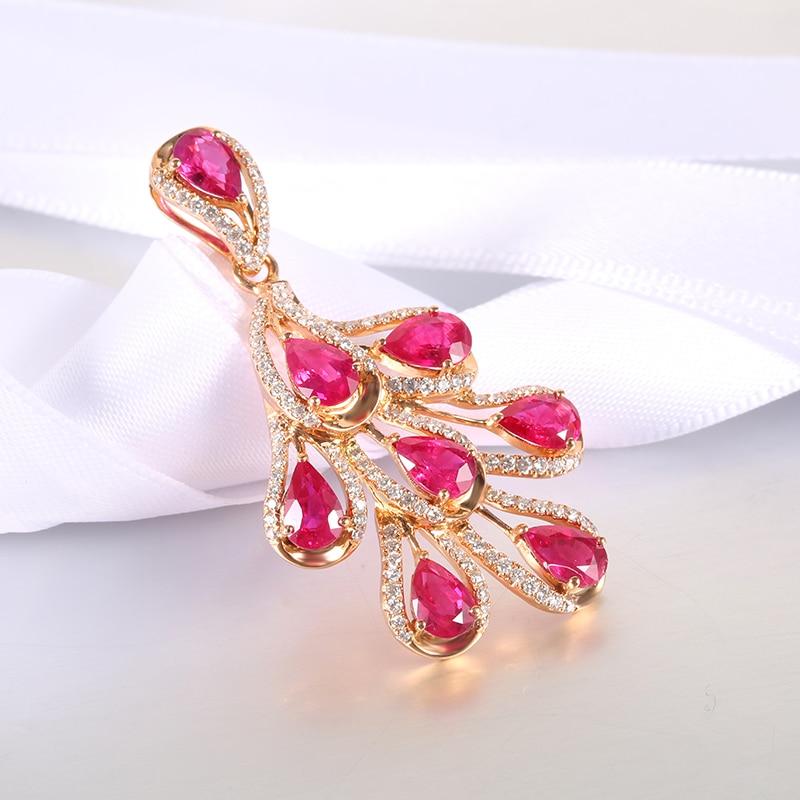 √Robira rubí lujo Colgantes 18 K oro rosa colgante de moda joyería ...