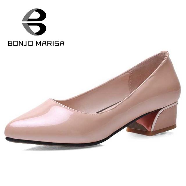 Bonjomarisa poined toe menos plataforma senhora do escritório mulher sapatos tamanho grande 33-43 novas mulheres microfibra patente salto médio bombas
