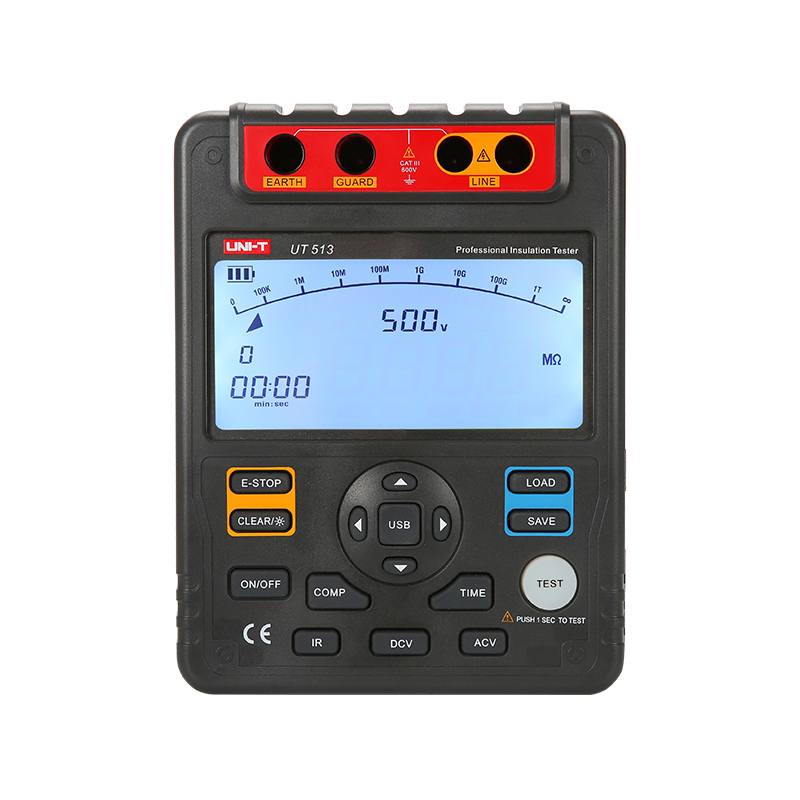 UNI-T UT513 Digital Insulation Resistance Tester Test Meter Megger 1M-1000G OHM 5000V USB Interface mastech ms5215 high voltage digital insulation resistance tester megometro megger 5000v 3ma temp 10 70c
