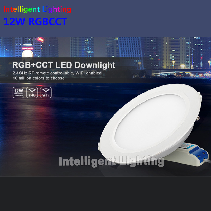 2.4g 1x 6w/12w, 2x 6w/12w, 3x 6w/12w, 4x 6w/12w RGBCCT(RGB+Warm White/White)led downlight+2.4G RF Remote+Milight wifi controller free shipping tw2815 qfp 10pcs lot ic