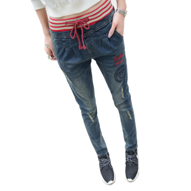 Jeans Pant Women Elastic Waist Jeans Drawstring Pants Cotton Embroidery Ripped Jeans Fashion Casual Trousers Hot Sales rm1 1820 rm1 1821 fusing heating assembly use for hp 1600 2600 2600n hp1600 hp2600 fuser assembly unit
