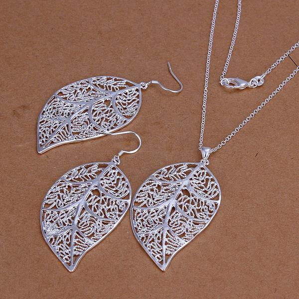 Classic Jewelry Genuine 925 stamped silver plated Jewelry Set leaves Earring Hook And Leaf Pendant Necklaces+18