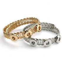 2colors Metal Snap Button Bracelet  Sterling Jewelry  Bracelet with beads (Fit with 12/18mm snaps) men gold jewelry 041201