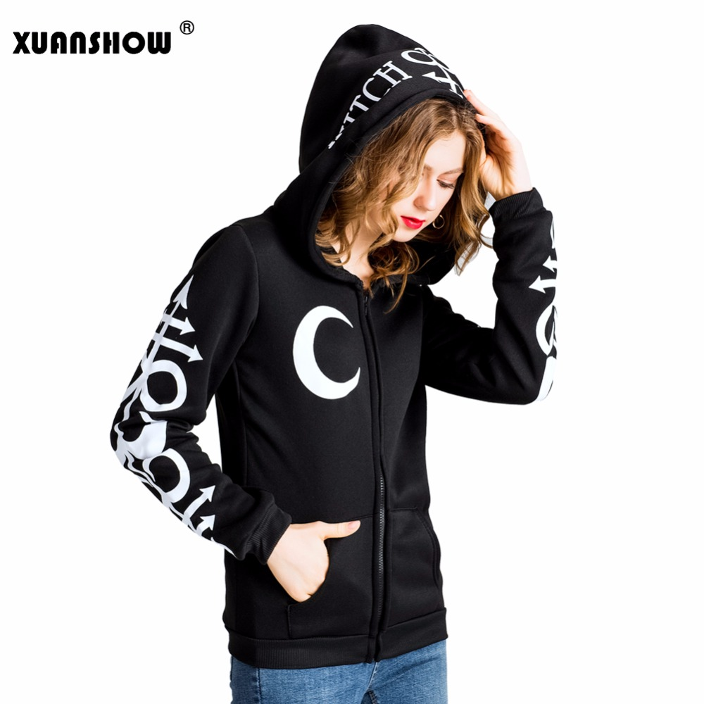 XUANSHOW Women Hoodies Punk Moon Letters Printed Sweatshirts Winter Autumn Long Sleeve Jacket Zipper Coat
