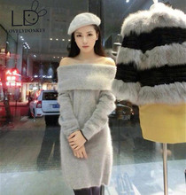 LOVELYDONKEY Mink collar sweater turtleneck collar sweater Strapless Knitted skirt M609