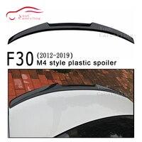M4 stil BMW için rüzgarlık M3 F80 & 3 serisi F30 4-door sedan 2012-2019 320i 328i 330i 335i FRP plastik parlak siyah bagaj dudak