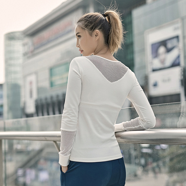 Breathable Mesh Sport Yoga Jersey Women Long Sleeve Fitness Exercise Shirts Quick Dry Workout Top with Removable Pads