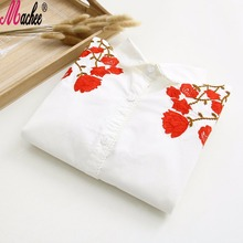 2017 New Cotton Casual Turn-down Collar Long Sleeve White Women Chinese Plum Embroidery Blouse Female Work Shirts Office Tops