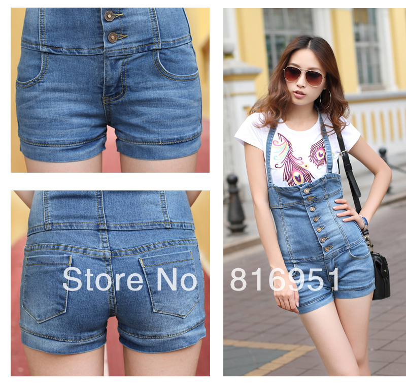 denim shorts jumpsuit denim bib overalls women shorts high ...
