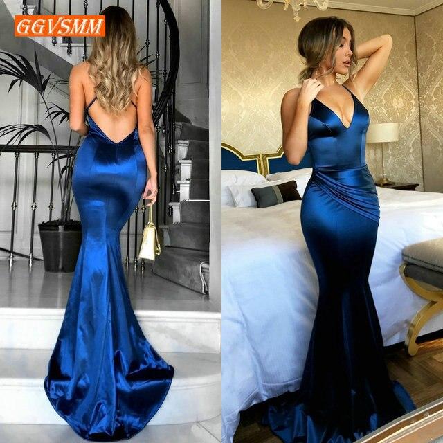 Женское длинное вечернее платье русалка, синее облегающее платье с V образным вырезом, сексуальное платье для выпускного вечера, 2020
