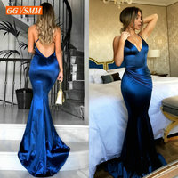 Fashion Royal Blue Women Long Evening Dress 2019 Sexy Evening Gown Real Photos V Neck Slim Fit Mermaid Formal Party Dresses Prom