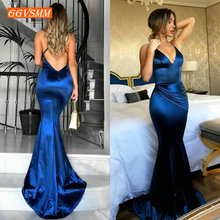 Fashion Women Royal Blue Long Evening Dress 2020 Sexy Evening Gown Real Photos V Neck Slim Fit Mermaid Formal Party Dresses Prom