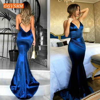 Fashion Women Royal Blue Long Evening Dress 2020 Sexy Evening Gown Real Photos V-Neck Slim Fit Mermaid Formal Party Dresses Prom fashion ivory mermaid long evening dresses women 2019 evening gown scoop stretch fabric lace zipper sleeveles formal party dress
