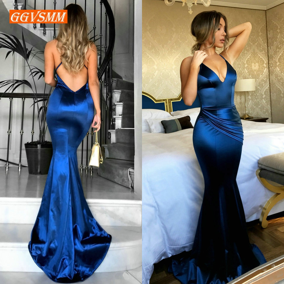 Mode femmes bleu Royal longue robe de soirée 2019 Sexy robe de soirée vraies Photos col en v mince coupe sirène formelle robes de soirée de bal
