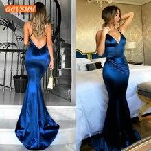 แฟชั่นผู้หญิง ROYAL BLUE ยาว 2020 เซ็กซี่ชุดราตรีจริงรูปภาพ V คอ SLIM FIT Mermaid อย่างเป็นทางการ PARTY Dresses พรหม