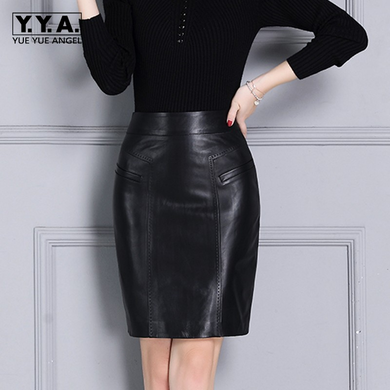 Autumn New Arrival Women Skirts Genuine Leather Streetwear Casual Office Lady Jupe Femme Sheepskin High Waist Wrap Pencil Faldas