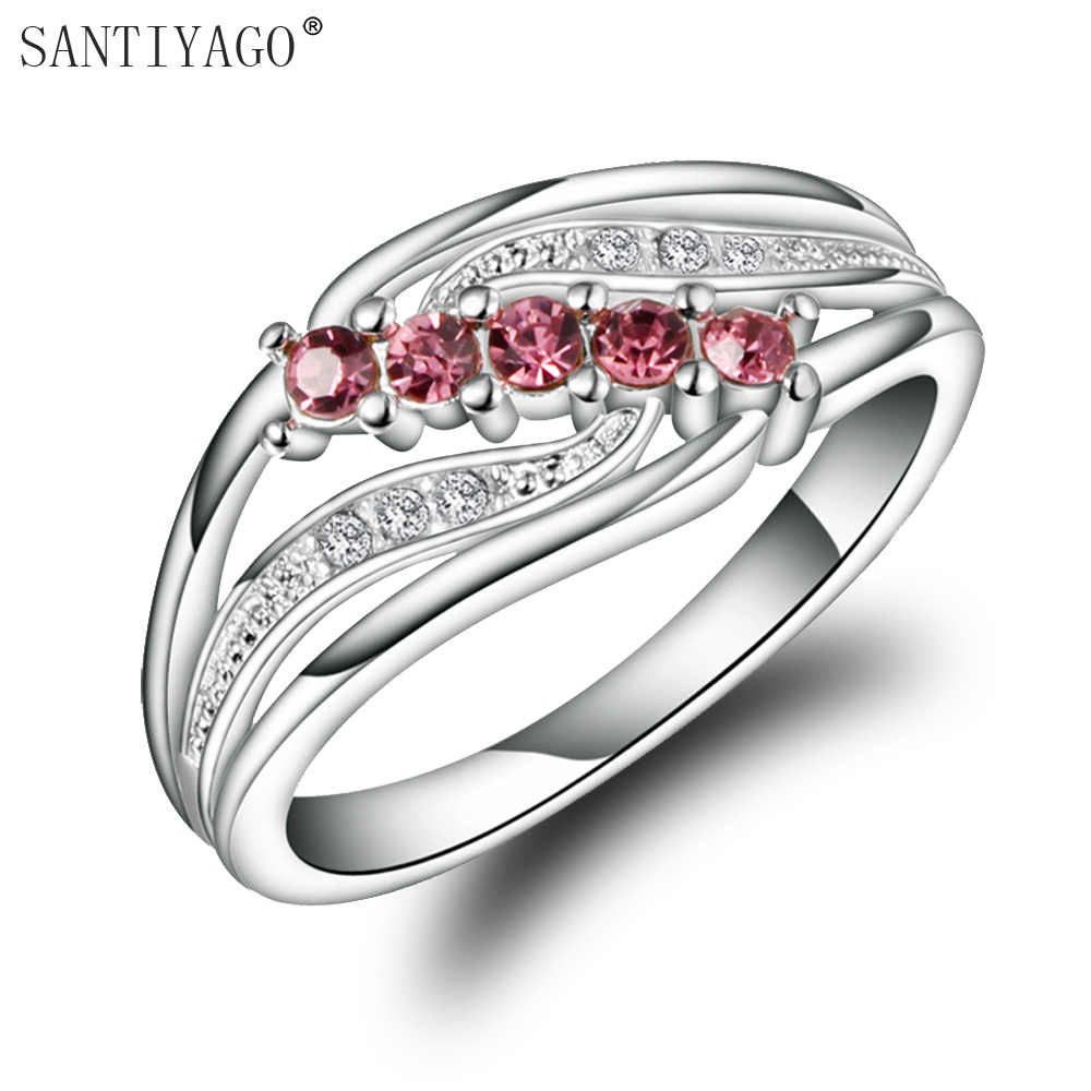 SANTIYAGO Red Zircon Women Ring Silver Plating Promotion Jewelry for Lady