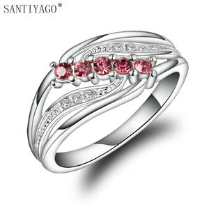 SANTIYAGO Red Zircon Women Ring Silver Plating Jewelry